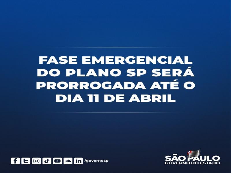 Notícia: SP prorroga fase emergencial de combate à pandemia até 11 de abril